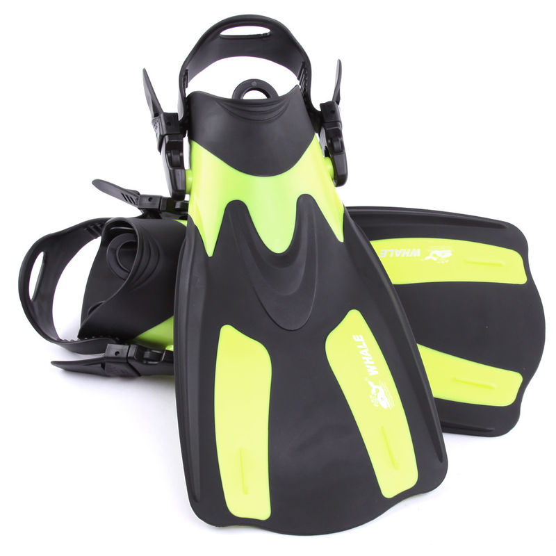 Yellow Short Swim Fins For Snorkeling With Detachable Strap , Ergonomic Design