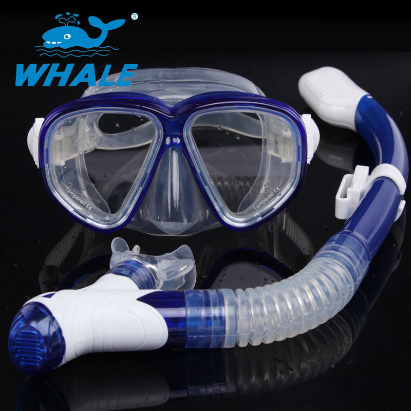 Ultra Low Volume Silicone Diving Snorkel Set Foldable Buckles With PC Mask Frame