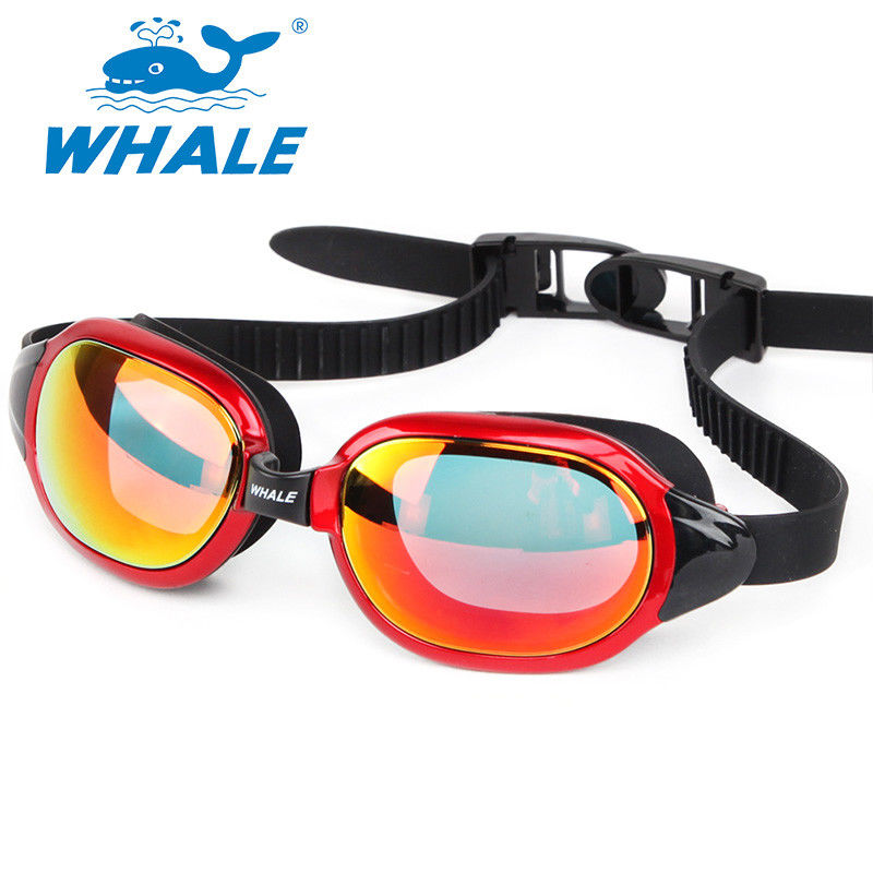 No Leaking Silicone Swimming Goggles with Mirrored Revo Lens , orange