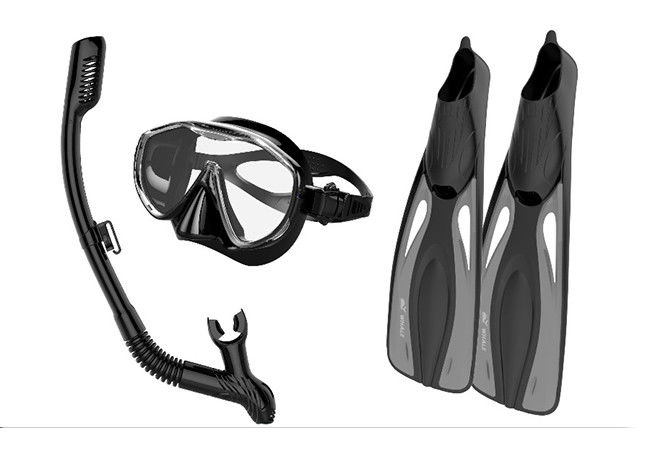 Impact Resistant Snorkel Mask And Fins Set With Dry Top Technology