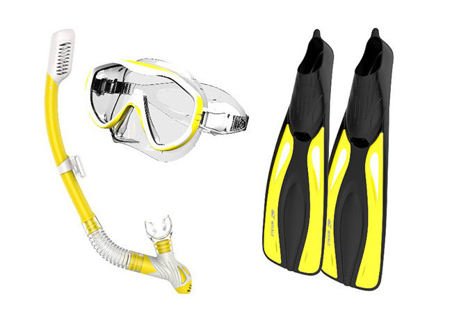 Adults Diving Snorkel Set Yellow Color With Anti - Fog Coated Tempered Glass